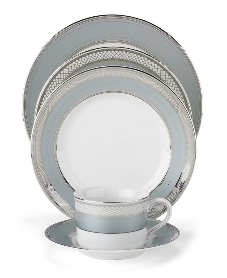 "Lauren Ralph Lauren ""Silk Ribbon Slate"" 5-Piece Place Setting - Fine China - Dining & Entertaining - Macy's"