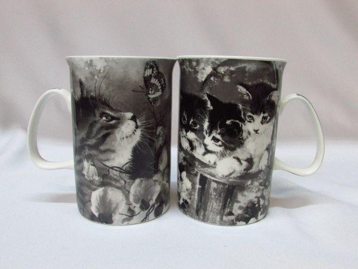 Kittens Cats Butterflies Coffee Tea Mugs Porcelain Black White Unique Signed