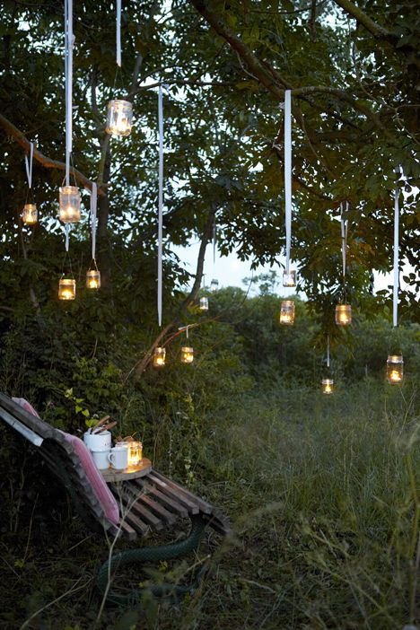 Fireflies or could we do these w lil flowers then replace them w lights as it gets darker...?