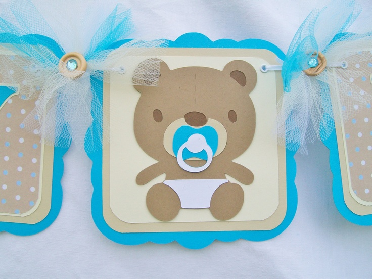 Baby Boy Teddy Bear Banner Baby Shower Banner Ready To