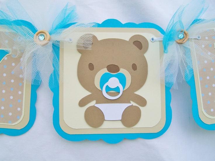 Baby Boy Teddy Bear Banner Baby Shower Banner Ready To