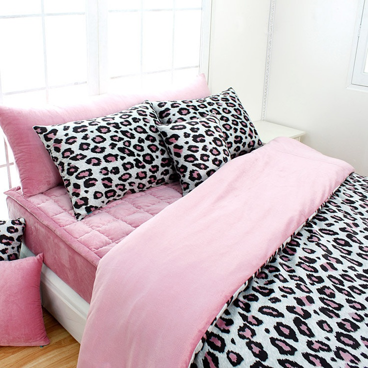 Pink Leopard Microfiber Queen Duvet Cover Set by BHDecor on Etsy, $185.95