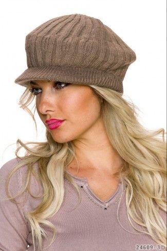 Πλεκτό καπέλο με μικρό γείσο - Καφέ