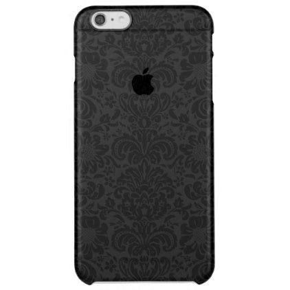 Elegant Black & Gray Floral Damasks Pattern Clear iPhone 6 Plus Case - elegant gifts gift ideas custom presents