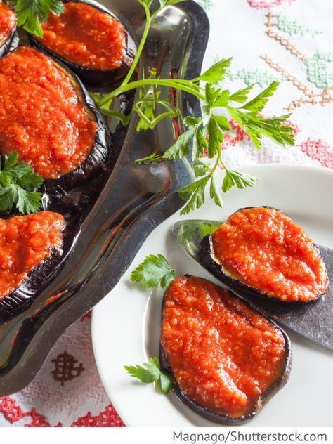 Auberginen Vorspeise mit Paprika und Tomaten Sakuska baklaschanowaja - Закуска баклажановая - Russische Rezepte