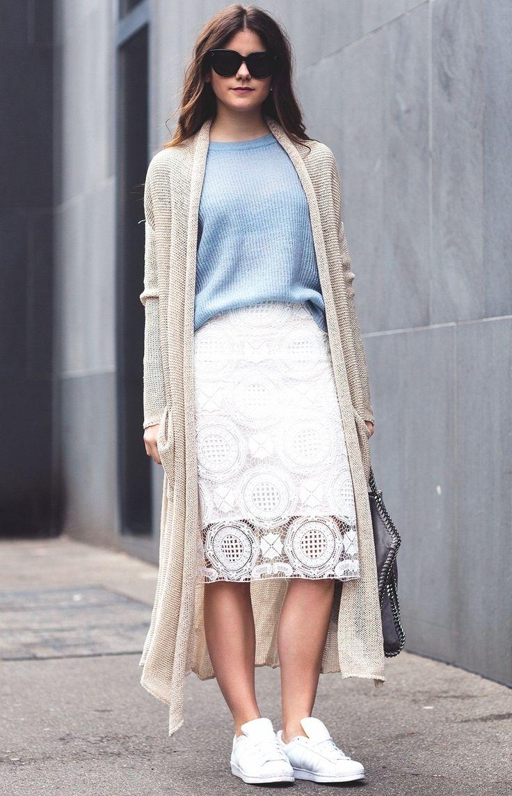 кремовый длинный вязаный кардиган, голубой джемпер, летняя мода 2015, модные тенденции 2015, стильный образ на каждый день, уличный стиль лето, MsKnitwear, knitting, I Love knitwear (фото 9)
