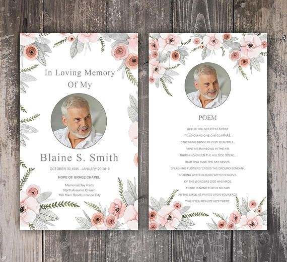 Funeral Prayer Card Template Editable Ms Word Photoshop Template Instant Download Funeral Cards Funeral Program Template Card Template