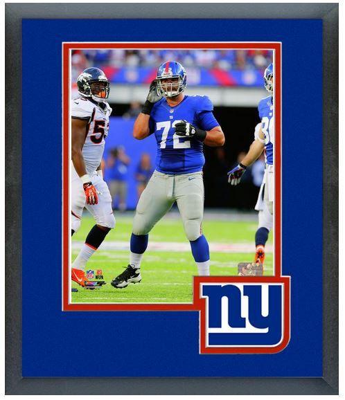 Justin Pugh 2013 New York Giants - 11 x 14 Team Logo Matted/Framed Photo