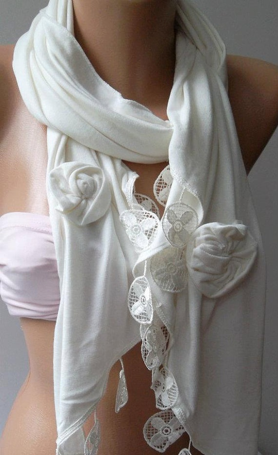 White   Elegance Shawl / Scarf with Lace Edge by womann on Etsy, $19.90