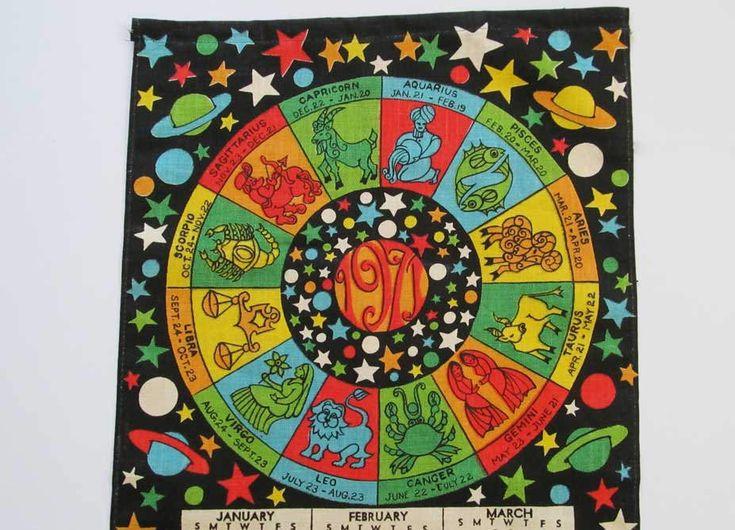 Vintage Zodiac Signs Wall Home Decor Astrology Calendar Linen Tea Towel Unused 1971 Retro Mod Design Colorful Sun Moon Stars On Black by DesignsFindsKC on Etsy