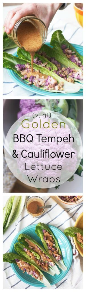 These Golden BBQ Tempeh and Cauliflower Lettuce Wraps are vegan and gluten free. They are full of flavor thanks to a golden BBQ sauce with a german mustard base!