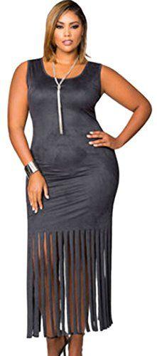 PEGGYNCO Womens Black Micro Suede Fringe Hem Full-figured Dress Size 2XL