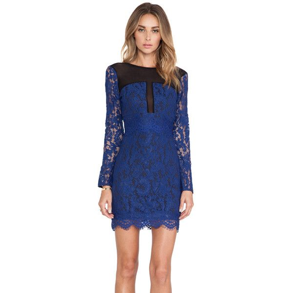 NBD Girls Night Out Dress ($86) ❤ liked on Polyvore featuring dresses, night out dresses, blue dress, holiday party cocktail dresses, zipper back dress and scalloped dress