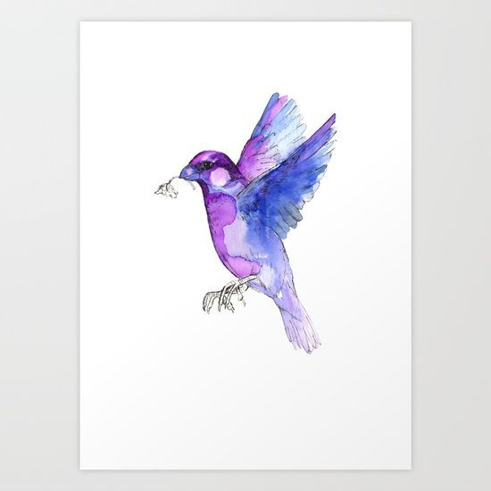 VIOLET SPARROW Art Print by Merrij. Worldwide shipping available at Society6.com. Just one of millions of high quality products available.