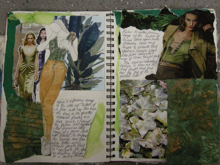 Fashion Sketchbook - leafy nature inspired fashion design with textiles surface development; fashion portfolio // Zara Hussain