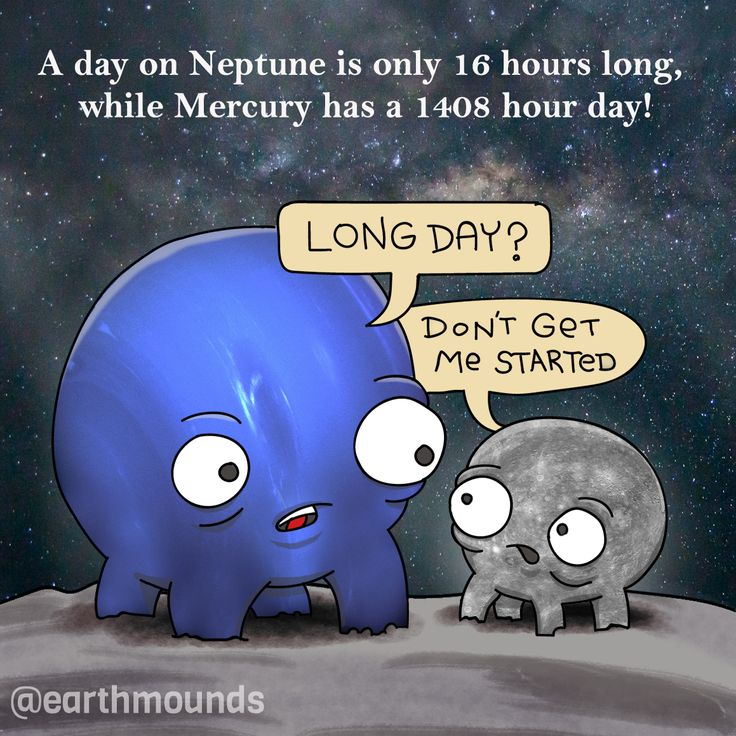 Of the planets in our solar system Neptune has the shortest day while Mercury has the longest. #funfact #sciencefact #astronomy #educational  #educational #earthmounds #steam #stem  #science #mercury #neptune #space  #planets #comic #nasa