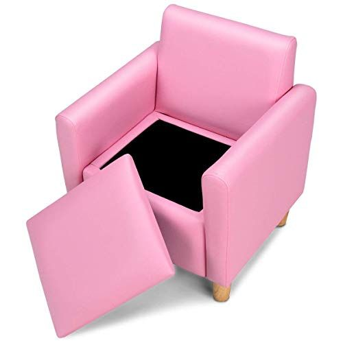 Honey Joy Kids Sofa Upholstered Armrest Sturdy Wood Construction Toddler Couch With Storage Box Single Seat Pink Kids Sofa Sofa Storage Kids Sofa Chair
