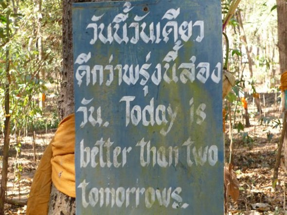 Buddhist words of wisdom at Wat Umong, Chiang Mai