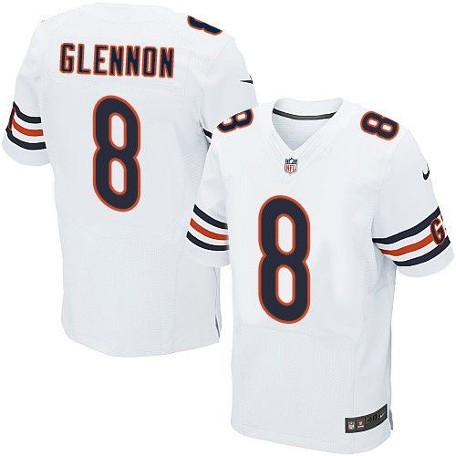 Men's Nike Chicago Bears #8 Mike Glennon Elite White NFL Jersey