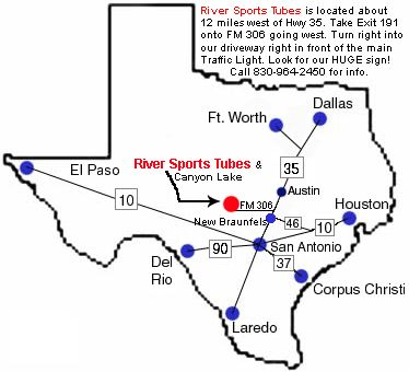 Maps and directions to River Sports Tube Rentals in Canyon Lake, Texas