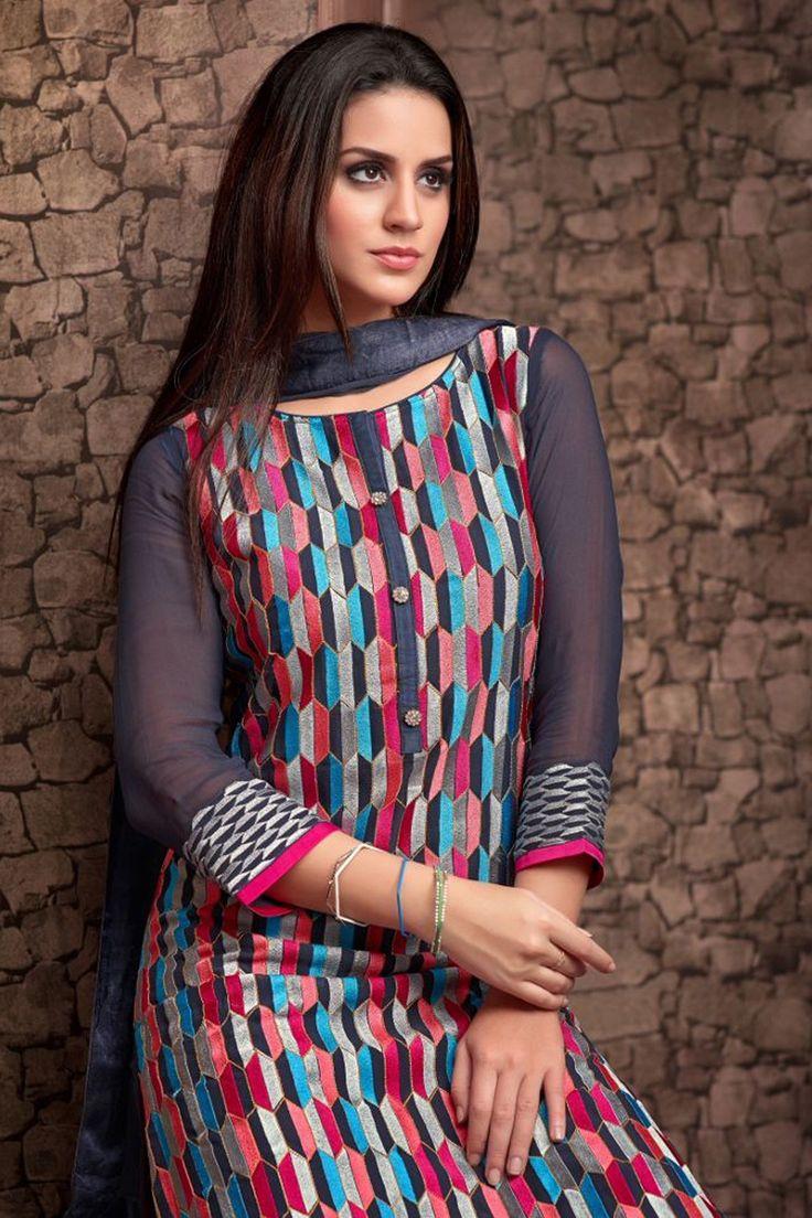 Grey multicoloured georgette Salwar Suit with Boat neck design #boat #neck #design #elegant
