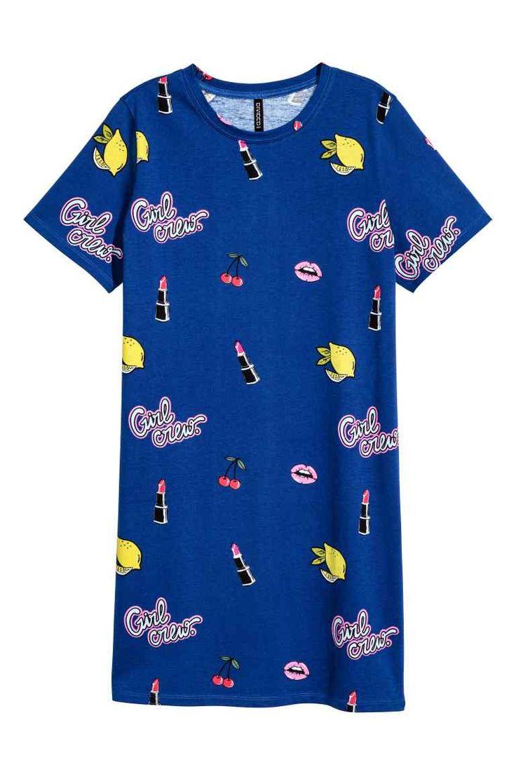 T-shirtjurk - Donkerblauw/dessin - DAMES   H&M NL