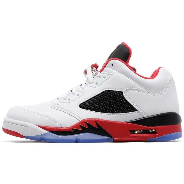 Jordan Air Retro V Low 'Fire Red' ($210) ❤ liked on Polyvore featuring men's fashion, men's shoes, men's sneakers, mens retro sneakers, mens red sneakers, mens low top shoes, mens red shoes and mens sneakers