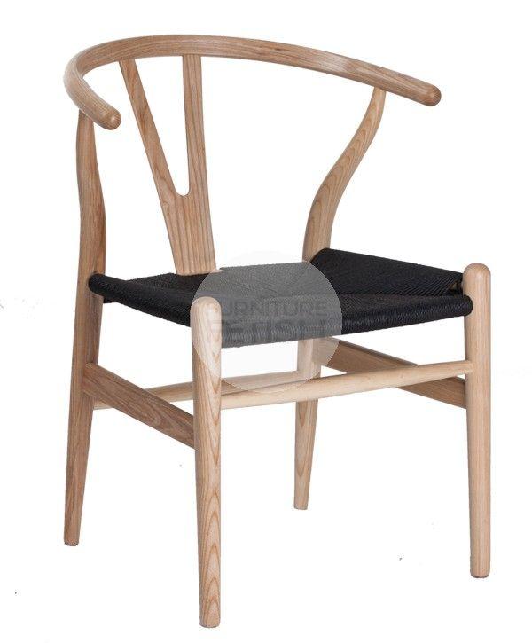 Replica Hans Wegner Wishbone Chair - Solid American Ash Natural Black Cord Seat