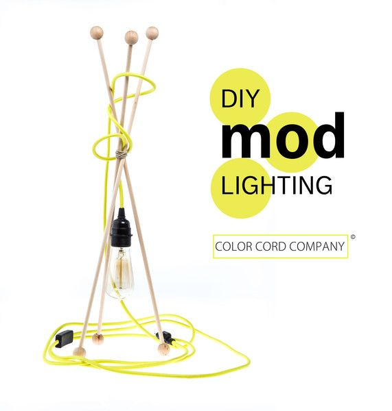 DIY MOD Lamp using neon yellow fabric covered wire