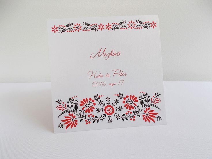 kalocsai mintás esküvői meghívó 10.1