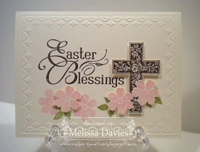 handmade Easter card ... like the grouping of large greeting, cross and die cut flowers ... Stampin' Up!