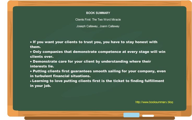 Clients First The Two Word Miracle BOOK BY Joseph \ Joann   Job Summaries  Job Summaries