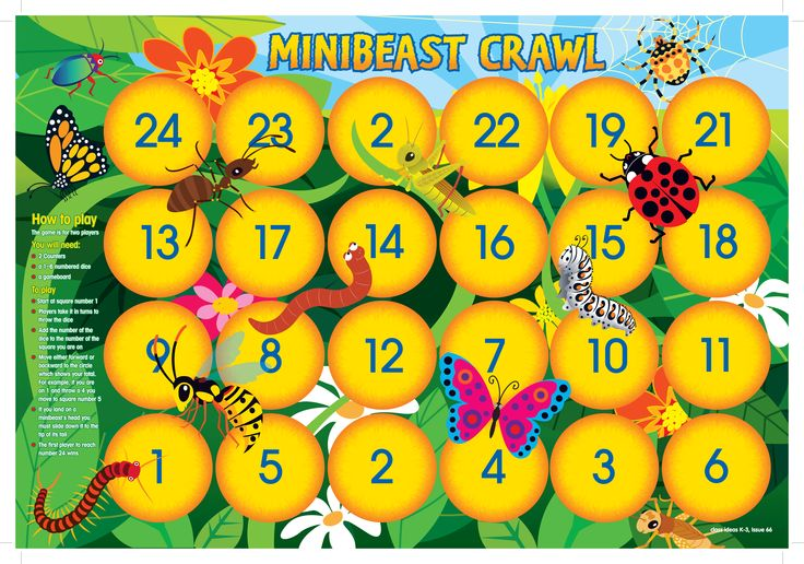 Minibeast Crawl Poster from Class Ideas: Playtime Issue 66 from R.I.C. Publications. Maths and Early Years games for the classroom.