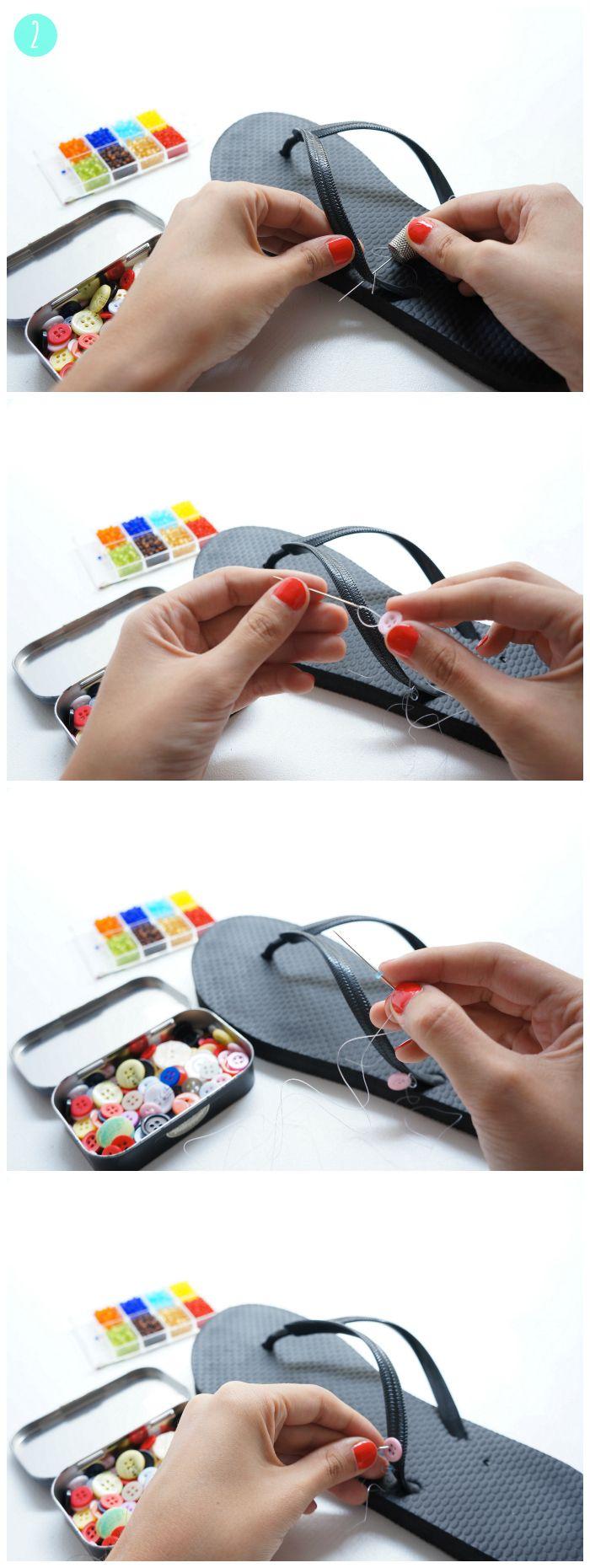 DIY Sandalias Playeras con abalorios y botones