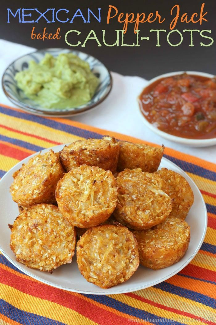 Mexican Pepper Jack Baked Cauli-Tots | cupcakesandkalechips.com | substitute the corn meal and it would be low carb