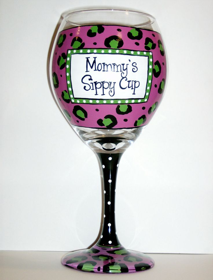 hand painted wine glass cheetah mommy u0026 39 s sippy cup ready to ship