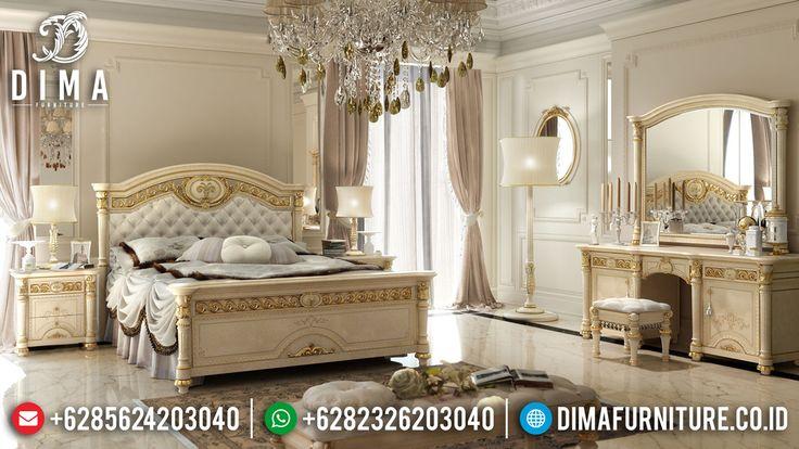 Set Kamar Tidur Mewah Jepara Duco Ivory Emas Terbaru Theriva DF-0499