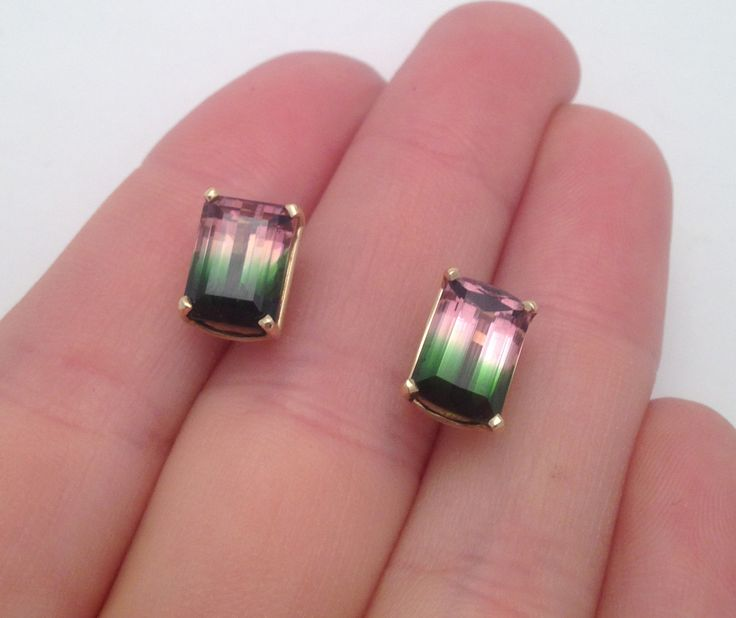 in round tourmaline earrings stud pink martini gold yellow