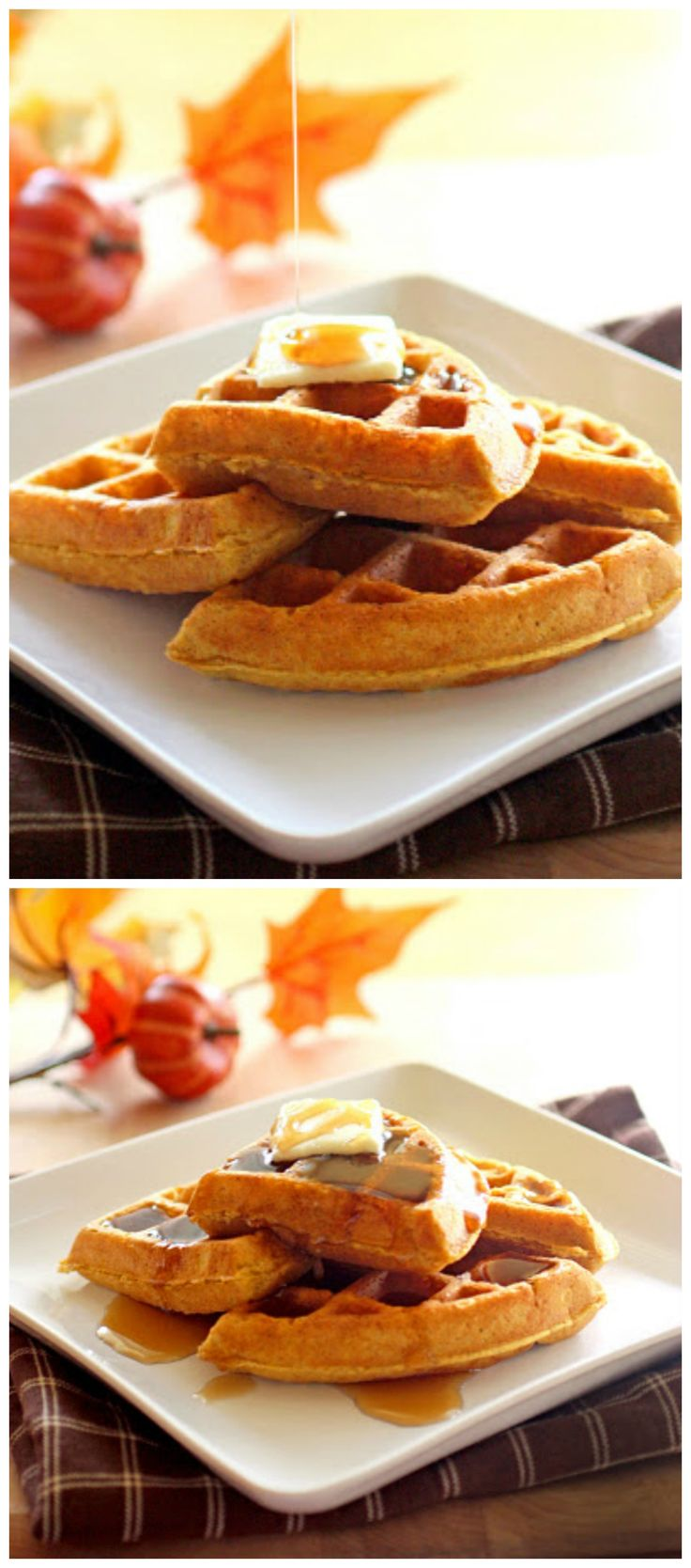 Pumpkin Waffles - crisp waffles that smell like fall. www.the-girl-who-ate-everything.com