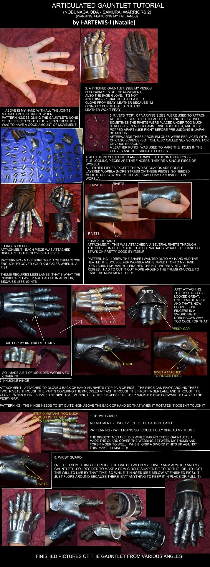 """i-artemis-i: """" tutorial-thing on how I made articulated gauntlets for my Nobunaga Oda costume (samurai Warriors 2) I'm much better at updating my facebook page :D (also yes it contains typos. turns..."""