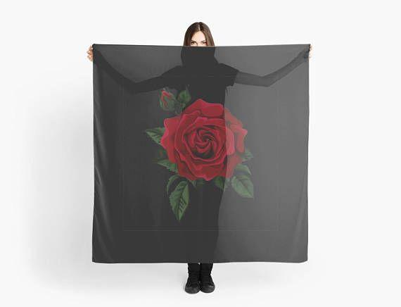 Scarf Red rose scarf/wrap Foulard carré 140 cm motif