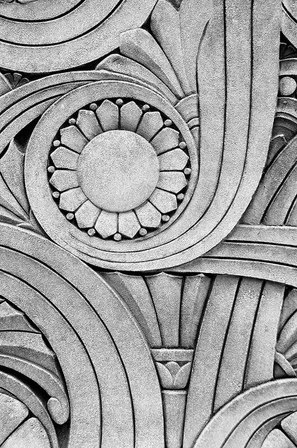 Art Deco architectural detail from the Chicago Motor Club building; pinned by Anika Schmitt