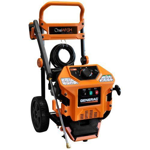Factory-Reconditioned Generac 6321R Onewash 3,100 PSI 2.8 GPM Gas Pressure Washer  Onewash automatically adjust spray intensity to suit your task Power dial with application specific settings allows you to select the optimal cleaning power for certain applications like cars, decks, sliding and masonry Low-oil and low-water sensor alert prevents the engine from running without water or oil and...