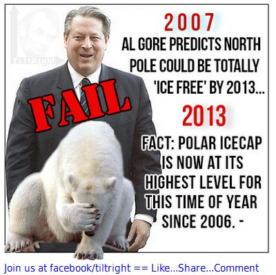 Al Gore, the bloated, hypocritical, mega- millionaire predicted the North Pole ice caps may be completely melted by 2013 due to global warming. Like most all of this gas bubble's doomsday predictions... he was wrong! Thank God for the Supreme Courts Florida decision back in the 2000 Presidential election. Click pic to join the conversation on FB   #tiltright