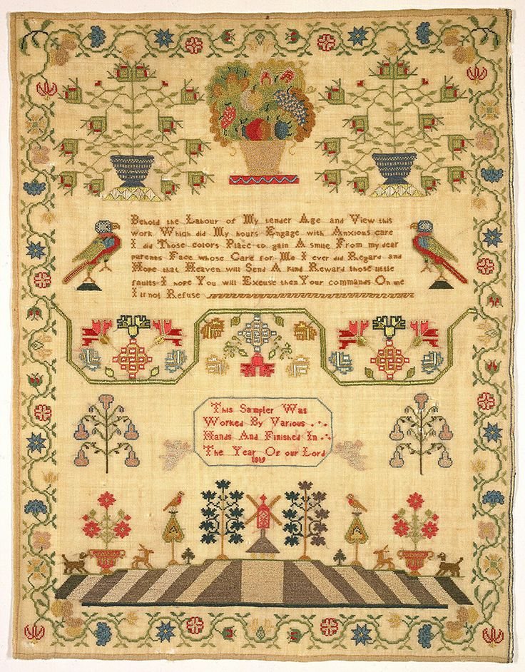 Sampler, 1981-28-74, 1819 | Objects | Collection of Smithsonian Cooper-Hewitt, National Design Museum