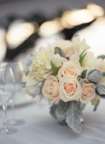 Rose dusty miller centerpieces liz banfield wedding