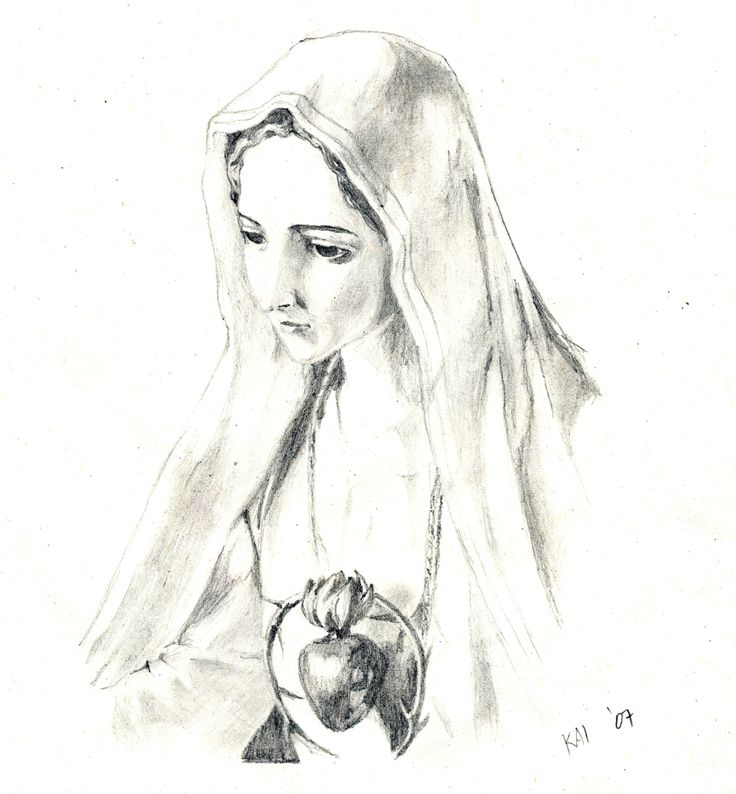 Line Drawing Virgin Mary : Virgin mary pencil drawings in