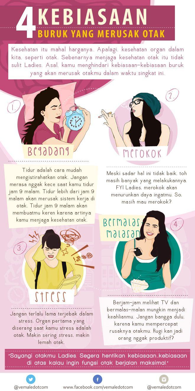 Infografis : Suka begadang dan bermalas-malasan? Awas, berbahaya untuk otakmu. Simak 2 kebiasaan lainnya di sini > http://www.vemale.com/woman-extra/84755-4-kebiasaan-terburuk-yang-merusak-otak.html
