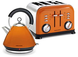 Orange Morphy Richards kettle and toaster