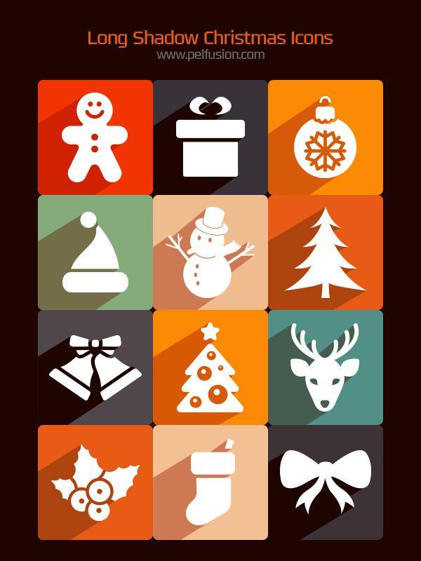 Behance를 통해 페르 아지즈의 자유로운 긴 그림자 크리스마스 아이콘,
